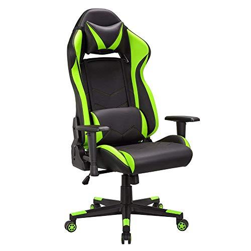 Gaming Stuhl, Ergonomischer Gamer Bürostuhl, Schreibtischstuhl mit 90-135°kippbarer Rückenlehne, Kunstleder Computer Racing Stuhl mit verstellbarer Sitzhöhe, PC Gamer Stuhl, Grün
