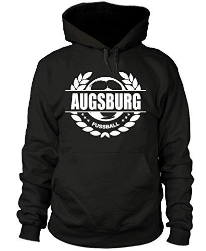 shirtloge - Augsburg - Fussball Lorbeerkranz - Fan Kapuzenpullover - Schwarz - Größe S