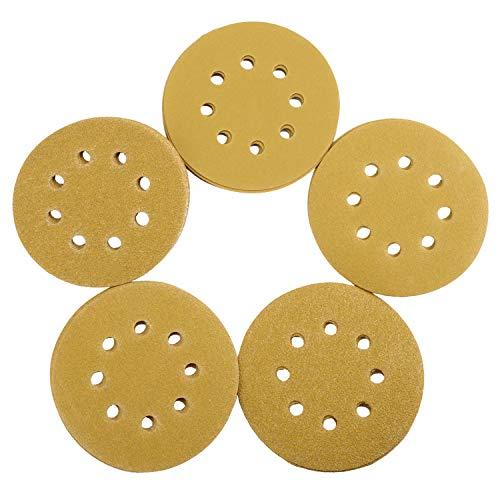 ORHFS 5-Inch 8-Hole Hook and Loop Sanding Discs, 60/80/120/150/220 Assorted Grits Gold Sanding Disc for Random Orbital Sander, 100-Pack