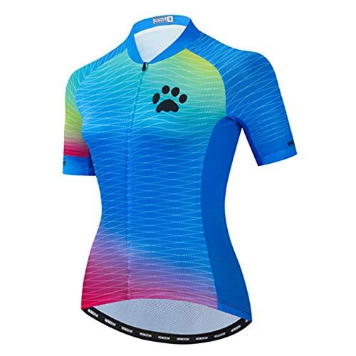 Mujeres Ciclismo Jersey manga corta bicicleta camisa MTB Bicicletas ropa transpirable - azul - Medium