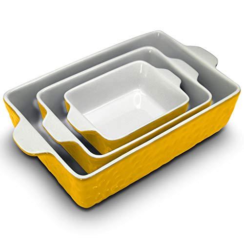 NutriChef 3Pcs. Nonstick Bakeware PFOA PFOS PTFE Tray Set w/Odor-Free Ceramic, 446°F Oven Microwave/Dishwasher Safe Rectangular Baking Pan, Yellow NCCREX62