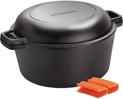 Overmont Dutch Oven Gusseisen Topf einsatzfertig eingebrannt Doppelfunktion Deckel/Bratpfanne für Küche Camping Garten BBQ Backen