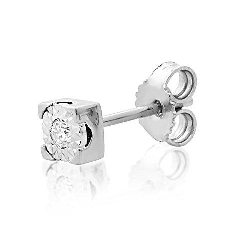 MILLE AMORI ∞ Mono Un Pendiente Oro y Diamantes Mujer Hombre - Oro Blanco 9 Kt 375 ∞ Diamantes 0.015 Kt - joyas de fantasía