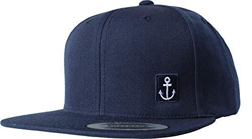 Cap: Kleiner Anker - Flexfit Snapback - Männer Mann Frau-en - Baseball-Cap - Hip-Hop Rap - Mütze - Kappe - Kapitän Seemann - Angler - Hamburg - Basecap - Vintage Retro Patch Navy (One Size)