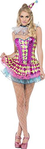 Fever, Damen Neon Harlekin Clown Kostüm, Tutu-Kleid, Kragen und Hut, Größe: M, 41041