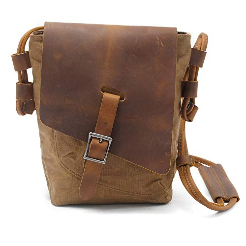 BYEON Canvas Messenger Bags Shoulder Bags Crossbody Bags Purse Daypack for Men Women,Khaki
