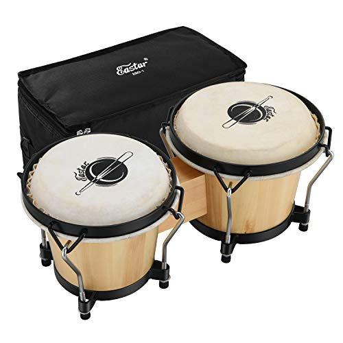 Eastar EBO-1 Wood 6+7 Bongo Drum with Light Weight Hard Bag and Adjusting...