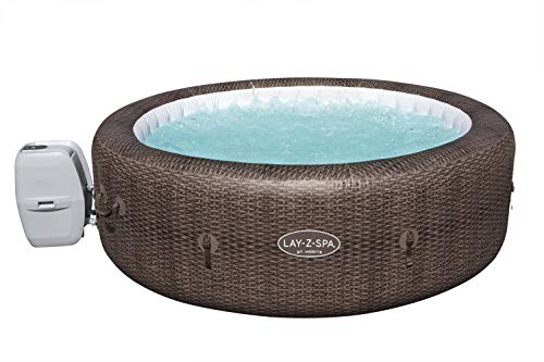 Lay-Z-Spa St Moritz Hot Tub, 180 AirJet Massage System Rattan Design Inflatable Spa with Freeze Shield Year Round Technology, 5-7 Person
