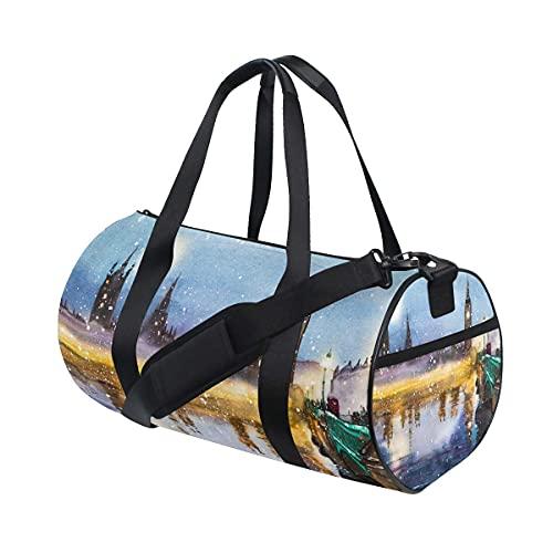 Westminster Abbey Bridge at Dusk Landscape Swim Sports Gym Bag con scomparto per scarpe e tasca bagnata per donne o uomini
