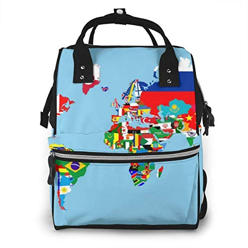 UUwant Sac à Dos à Couches pour Maman World Map Flags Diaper Bags Large Capacity Diaper Backpack Travel Nappy Bags Mummy Backpackling