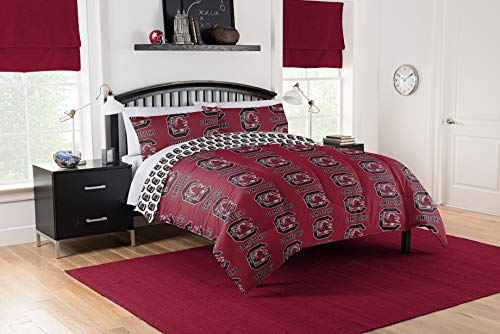 NCAA South Carolina Gamecocks Queen Comforter and Sheet Set (5 Piece Bed in A Bag)