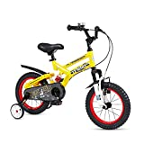 FOUJOY Kids Bike Steel Frame Children Bicycle 16 Inch with Training Wheels for 4-8 Years Old Children (Yellow)