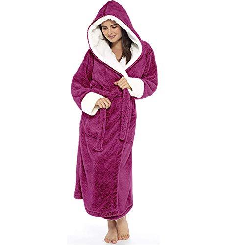 Vestaglia da donna in pile con cappuccio lungo, accappatoio caldo invernale, vestaglia in pile morbido accappatoio a figura intera, vestaglia da donna, vestaglia taglie forti, per donna