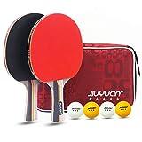 JIUYUAN Professional - Juego de Ping Pong de Mesa (2 Raquetas de 5 Estrellas y 4 Pelotas...