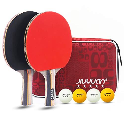 JIUYUAN Professionel - Juego de tenis de mesa (2 raquetas de 5 estrellas y 4 pelotas de tenis de mesa de 3 estrellas y 1 bolsa, ideal para principiantes, aficionados, profesionales y familiares.