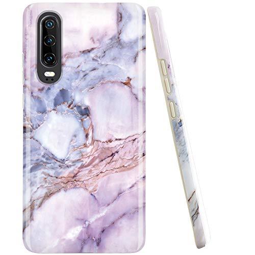 JAHOLAN Huawei P30 Hülle Handyhülle TPU Silikon Weiche Schlank Schutzhülle Handytasche Flexibel Case Handy Hülle für Huawei P30 - Marmor Violett
