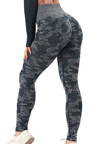 STARBILD Leggings sin Costuras de Cintura Alta Pantalones Deportivo Mallas Ajustadas de Compresión con Control de Abdomen para Mujer para Fitness Yoga Camuflaje Azul-Leggings S
