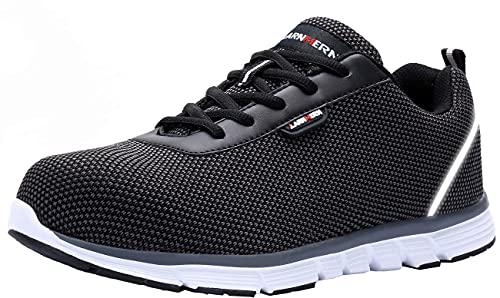 Zapatos de Seguridad Hombre Mujer,Punta de Acero Anti-Deslizante Ultra Liviano Transpirable Reflectivo