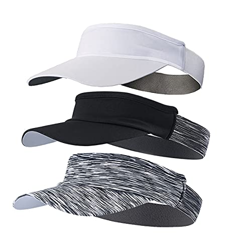 WRELS 3 Pack Sports Sun Visor Hat for Men Women,Soft Lightweight Adjustable Foldable Hat Cap with Sweatband (White-Black-Stripe Black)