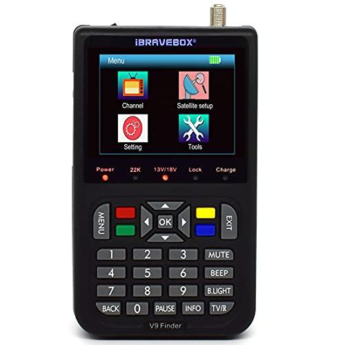 Detector de satélite, ibrvebox V9 Buscador de satélite HD DVB-S2 V8 Buscador de satélite digital con pantalla LCD digital de 3,5 pulgadas
