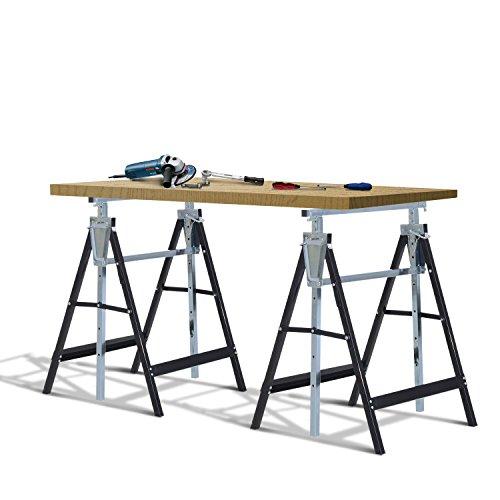 Lot de 2 tréteaux pliables télescopiques hauteur réglable 80-130 cm noir