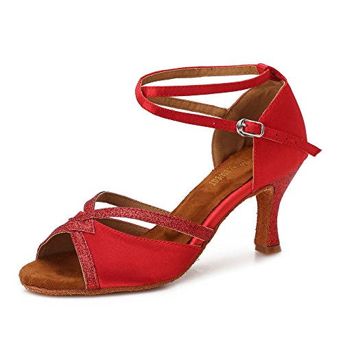 TTdancewear Women Ballroom Dance Shoes Latin Salsa Bachata Performance Sparkly Dance Dancing Shoes 8- Red 2.5inch