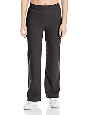 Hanes womens ComfortSoft EcoSmart Women's Petite Open Bottom Leg Sweatpants Ebony XX-Large