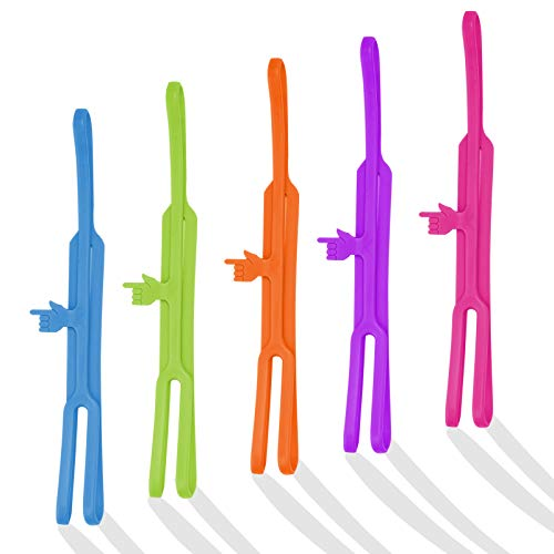 Funny Silicone Finger Point Bookmarks, 5Pcs Cool Unique Last Line Word Elastic Book Markers for Men Women Kids Boys Girls Book Lovers, School Office Supplies Reading Accessories