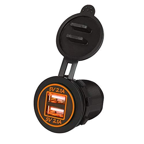 USB y voltaje del coche 4.2A Toma de alimentación impermeable del cargador de automóviles USB con cable, enchufe de cargador rápido USB doble, adaptador de cargador de automóvil de carga rápida de 4.2