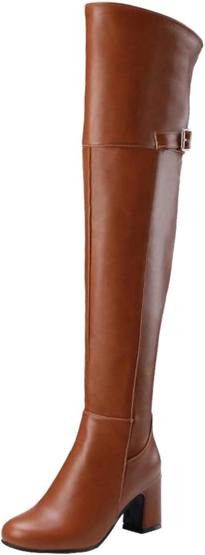 JOJONUNU Women Block Heel Thigh High Boots Zip