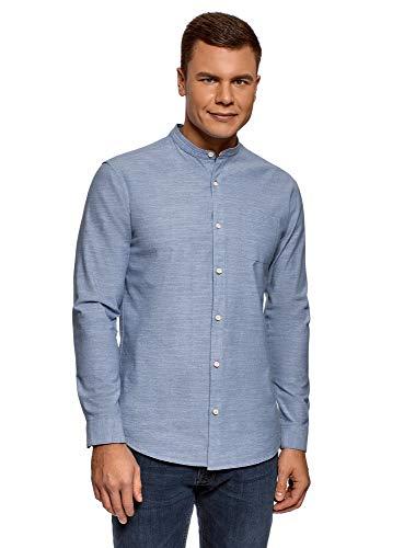 oodji Ultra Uomo Camicia in Cotone con Taschino, Blu, 48