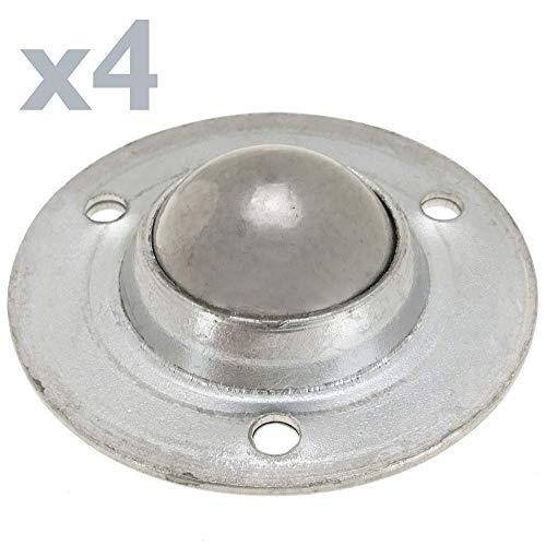 PrimeMatik - Rueda de Bola de Metal 19 mm para Puertas y Muebles 4 Pack