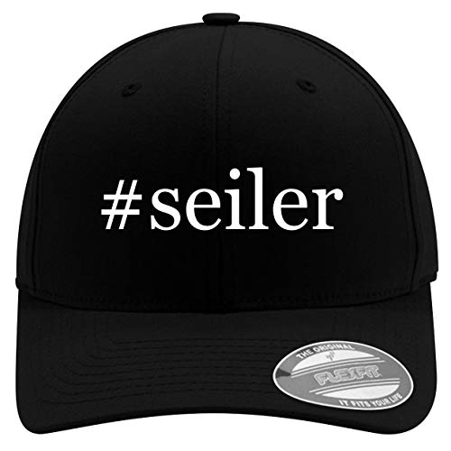 #Seiler - Men's Hashtag Soft & Comfortable Flexfit Baseball Hat, Black, Large/X-Large