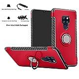 Labanema Mate 20 Funda, 360 Rotating Ring Grip Stand Holder Capa TPU + PC Shockproof Anti-rasguños teléfono Caso protección Cáscara Cover para Huawei Mate 20 - Rojo