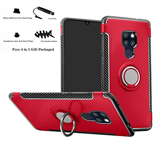 Labanema Mate 20 Funda, 360 Rotating Ring Grip Stand Holder Capa TPU + PC Shockproof Anti-rasguños teléfono Caso protección Cáscara Cover para Huawei Mate 20 - Rojo