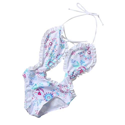 Mono bebé Traje de Baño de Bikini Floral de Una Pieza para Niñas bebé Bañador de Verano para bebé Bikini Ropa de Playa 1 Años - 5 Años (Blanco, Tamaño:4 Años)