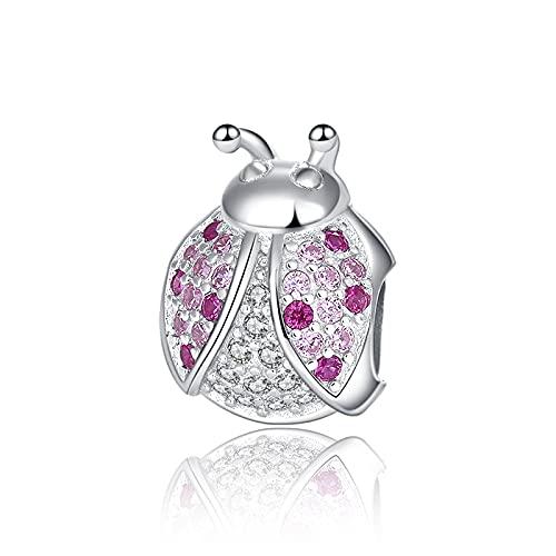 Xiaojing Listing Sterling Silver Ladybug Pink Cubic Zircon Insect Charm Bead Fit Pandora Pulsera Diy Jewelry Para Mujeres Llevarlo Te Hace Encantador