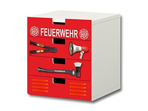 Stikkipix Feuerwehr Möbelsticker/Aufkleber - S4K20 - passend für die Kinderzimmer Kommode mit 4 Fächern/Schubladen STUVA von IKEA - Bestehend aus 4 passgenauen Möbelfolien (Möbel Nicht inklusive)