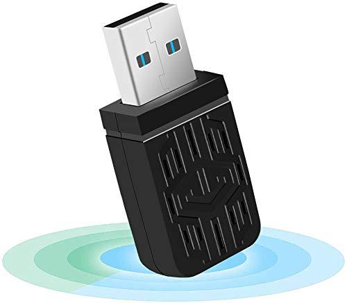 WiFi USB Antena Adaptador,1200Mbps USB 3.0 Mini WiFi USB Dongle Dual Band 2.4G/5.8GHz Receptor para PC Desktop Laptop Tablet, Windows XP/Vista/7/8/10/Mac OS 10.6-10.14