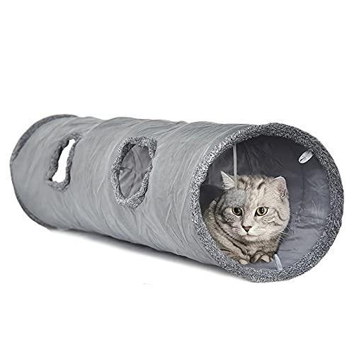 LeerKing Katzentunnel Katzenspielzeug Faltbar Spieltunnel Knisternder Rascheltunnel für alle Katzen und kleine Tiere 2 Höhlen 130 * 30cm