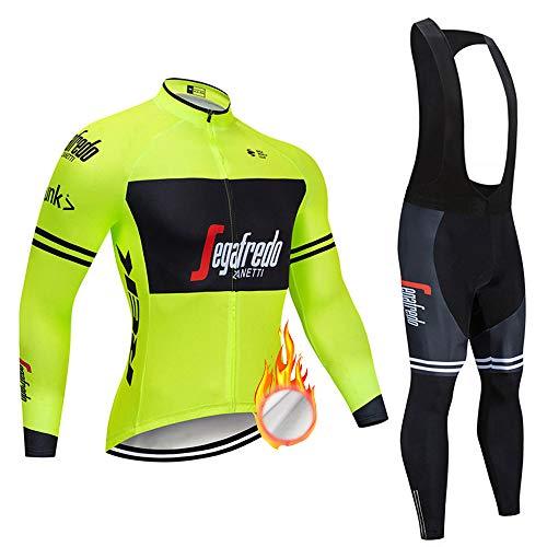 ZDFLC Conjunto de Maillots de Ciclismo para Invierno, Ropa de Bicicleta térmica...