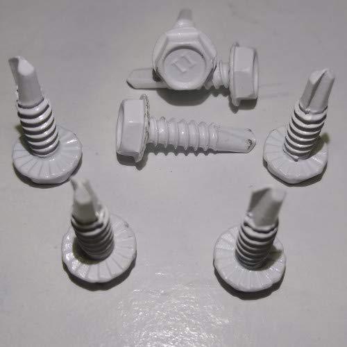 Shorpioen BC-0808KWW-100 Sechskant-Unterlegscheibe, nicht geschlitzt, selbstbohrend, Weiß, 1/4 Kopf Nr. 8 x 1/2 Zoll (100 Stück)