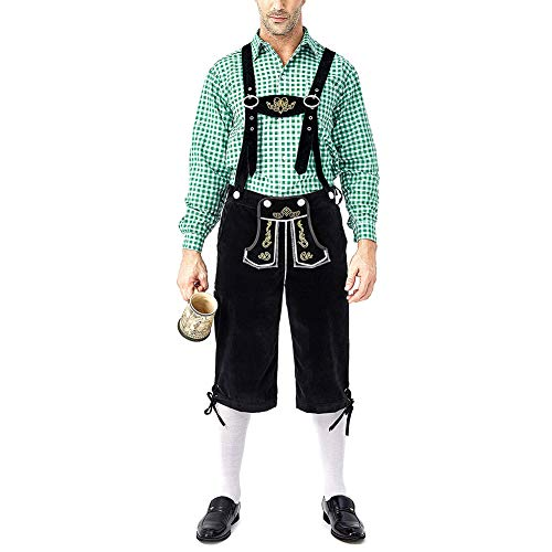 Neborn Disfraz de Cerveza Lederhosen bávaro para Hombre Oktoberfest Carnival Party Fancy Dress Suspenders Shorts