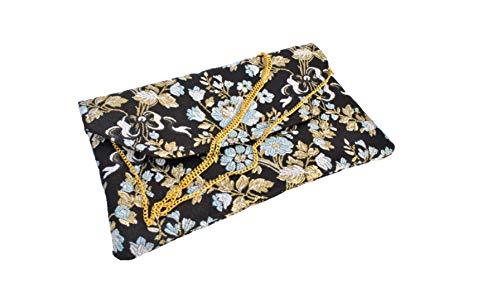 Bolso Clutch/Sobre de tela fallera valenciana negra con estampado de flores doradas y azules