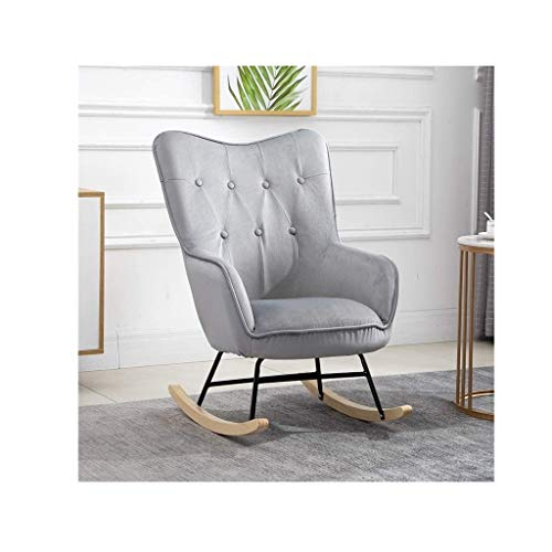 lilizhang Relax Rocking Chair, Upholstered Fireside Rocker Armchair for Living Room Bedroom Office, Lounge High Back Leisure Chair,Oyster Wing Back Nursing Chair,Grey
