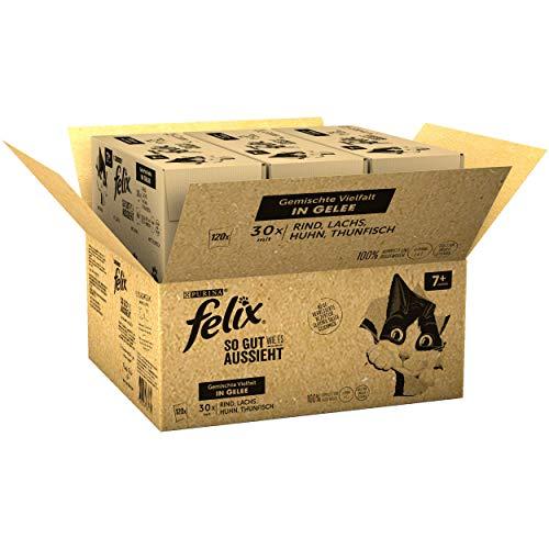 FELIX Katzennassfutter So gut wie es aussieht in Gelee Senior Gemischte Vielfalt 120x 85 g