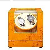 MENG-DuDu Watch Winders Automatic Dual Automatic Watch Winder Luxury Automatic Watch Display Case Automatic 2 Watch Winder Rotator (Yellow)
