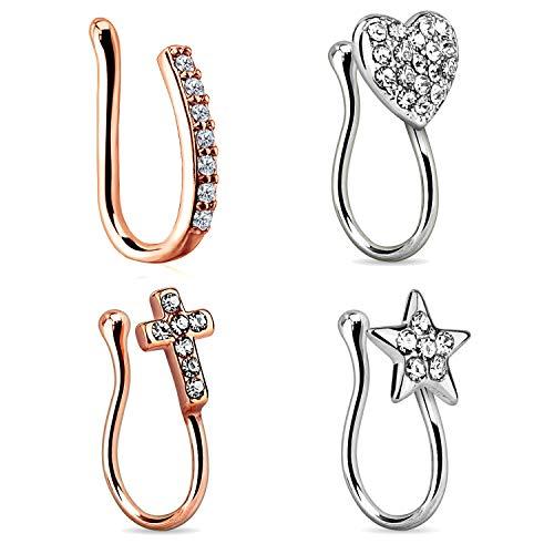 Mayhoop 4 Pcs Fake Nose Rings Hoop Clip on Stainless Steel with Diamond Heart Star Cross Fake Nose Piercings U Shaped No Pierced Body Piercing Jewelry