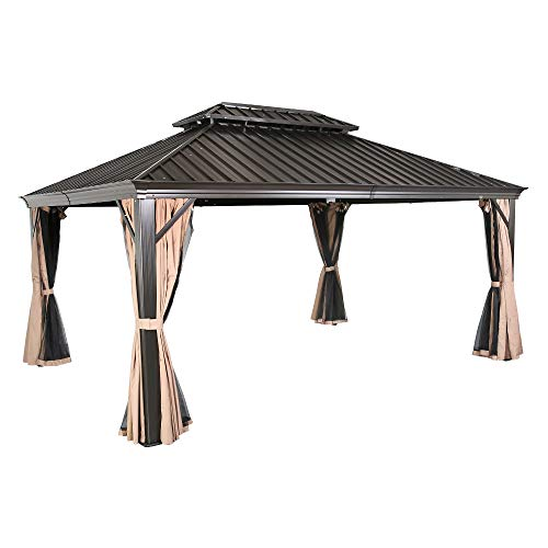 Iwicker 12' x 16' Weather-Resistant Patio Aluminum Frame Gazebo Outdoor Steel Canopy Tent with Mosquito Netting and Polyester Curtain