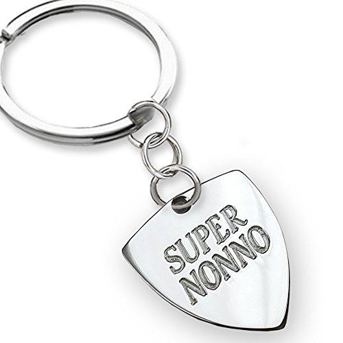 Portachiavi in argento Super Nonno, idea regalo per la Festa dei Nonni, regalo per il nonno